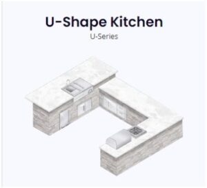 u shape kitchen rendering